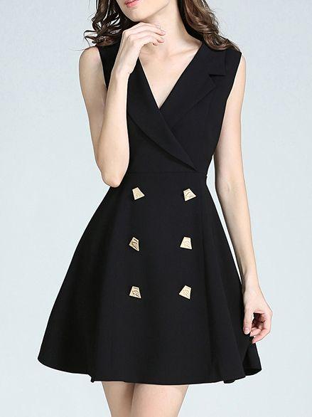 8f5f4264f6 Shop Black V Neck Simple A-Line Dress online. SheIn offers Black V Neck  Simple…