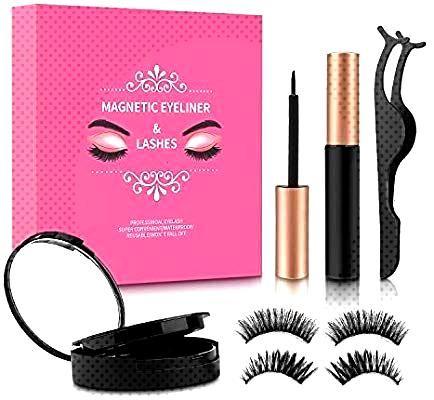 : Magnetic Eyelashes with Eyeliner, [2 Pairs]Kupton 3D Magnetic Eyela...     : Cils magnétiqu