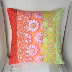 Housse de coussin fleuri, orange, corail, vert anis, vert d' eau en coton