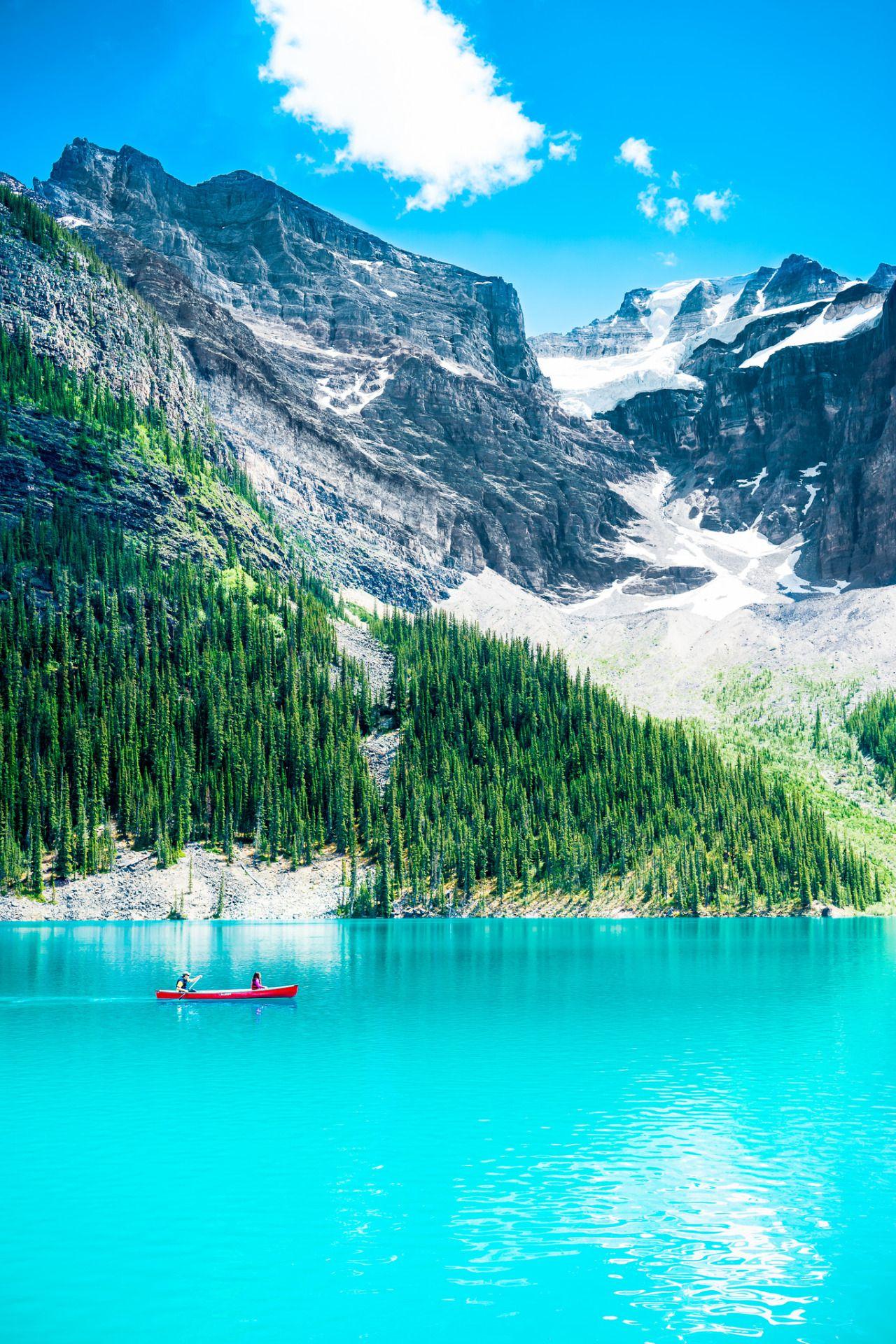 Kayakers In Moraine Lake Banff National Park Alberta Canada