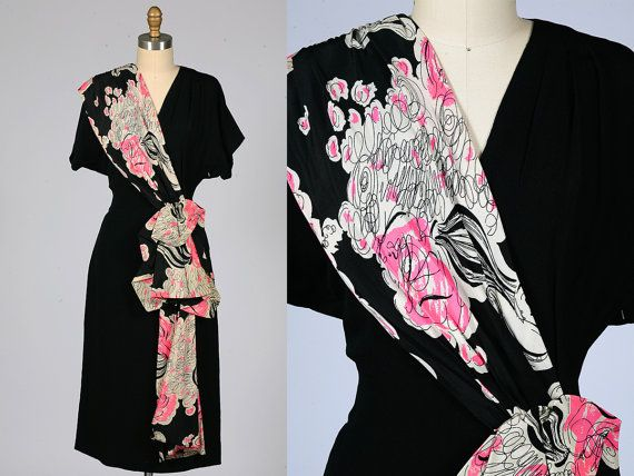 1940s dress/ 40s silk sash dress/ rayon by shopKLAD on Etsy, $172.00