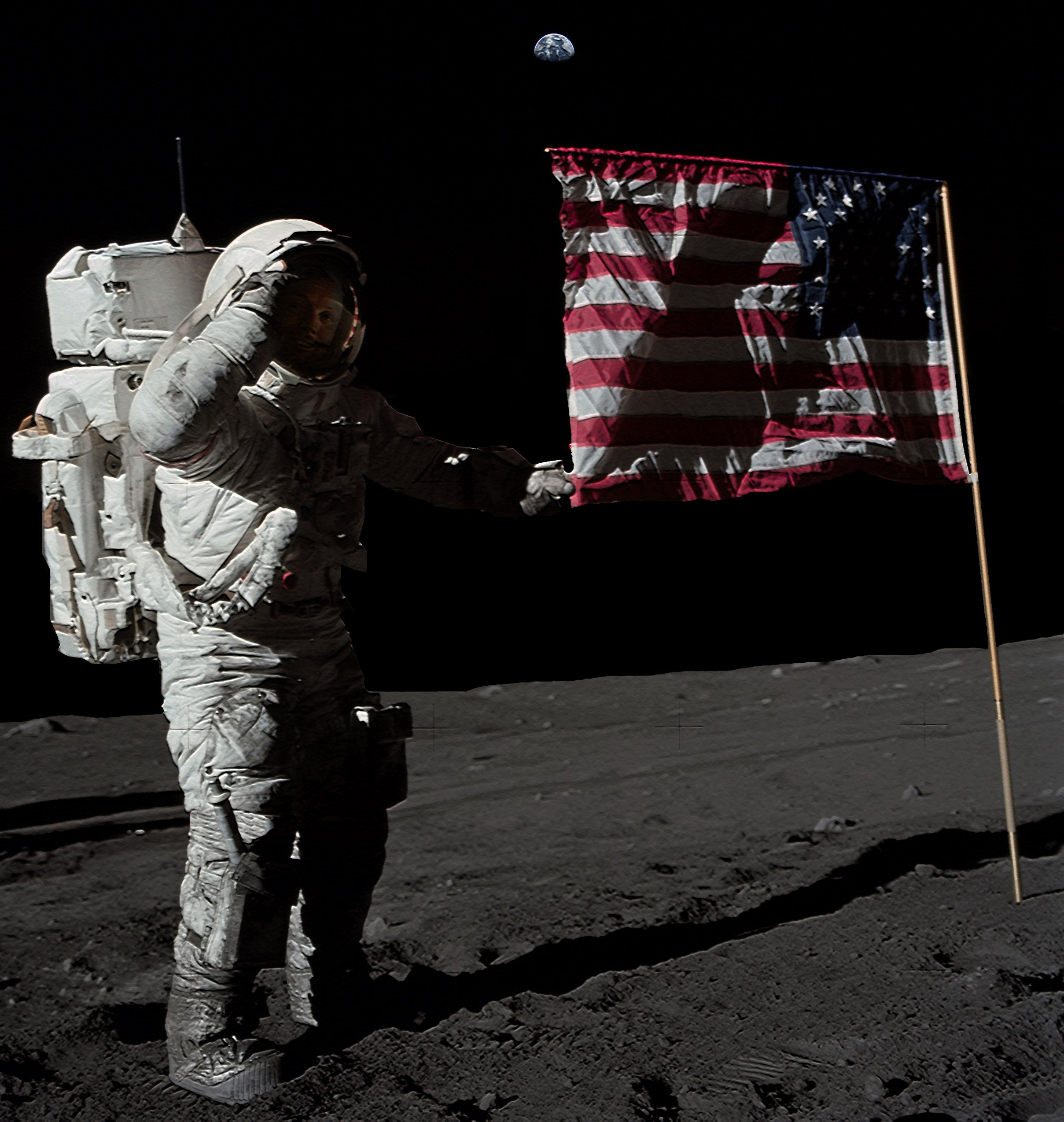 Neil Armstrong salutes the US Flag. Apollo 11. July 11 ...