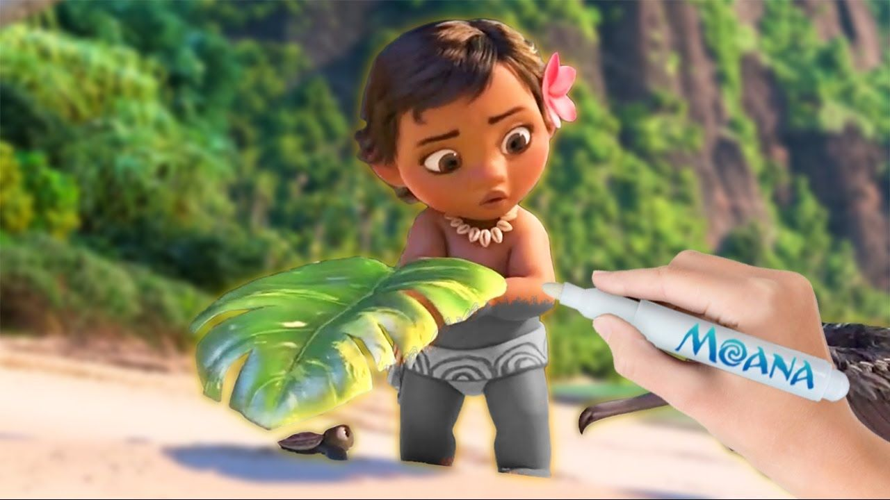 Disney\'s Baby Moana Save a Baby Turtle Coloring Book Pages Video For ...