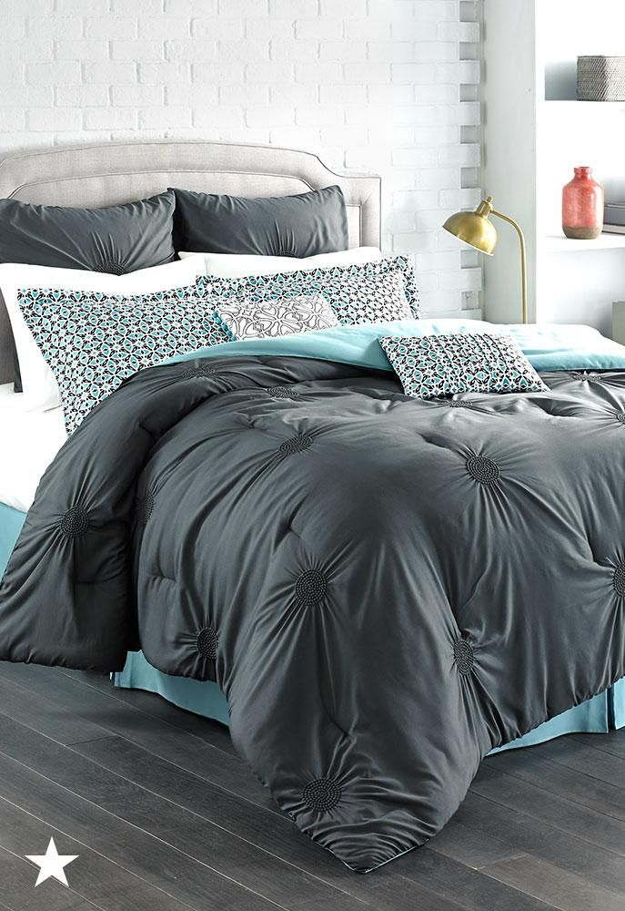 The Mint Accents Of This Sutton Charcoal Comforter Set