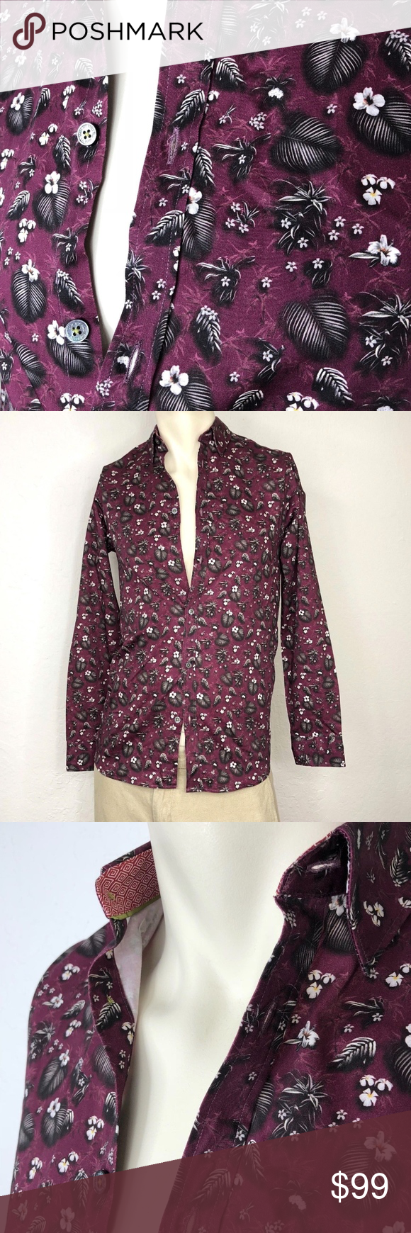 5268982c Ted Baker Floral Hawaiia Long Sleeve Cotton Shirt Ted Baker Mens Floral  Hawaiian Plumeria Long Sleeve 100% Cotton Button Up Slim Fit Shirt, Purple  Black ...