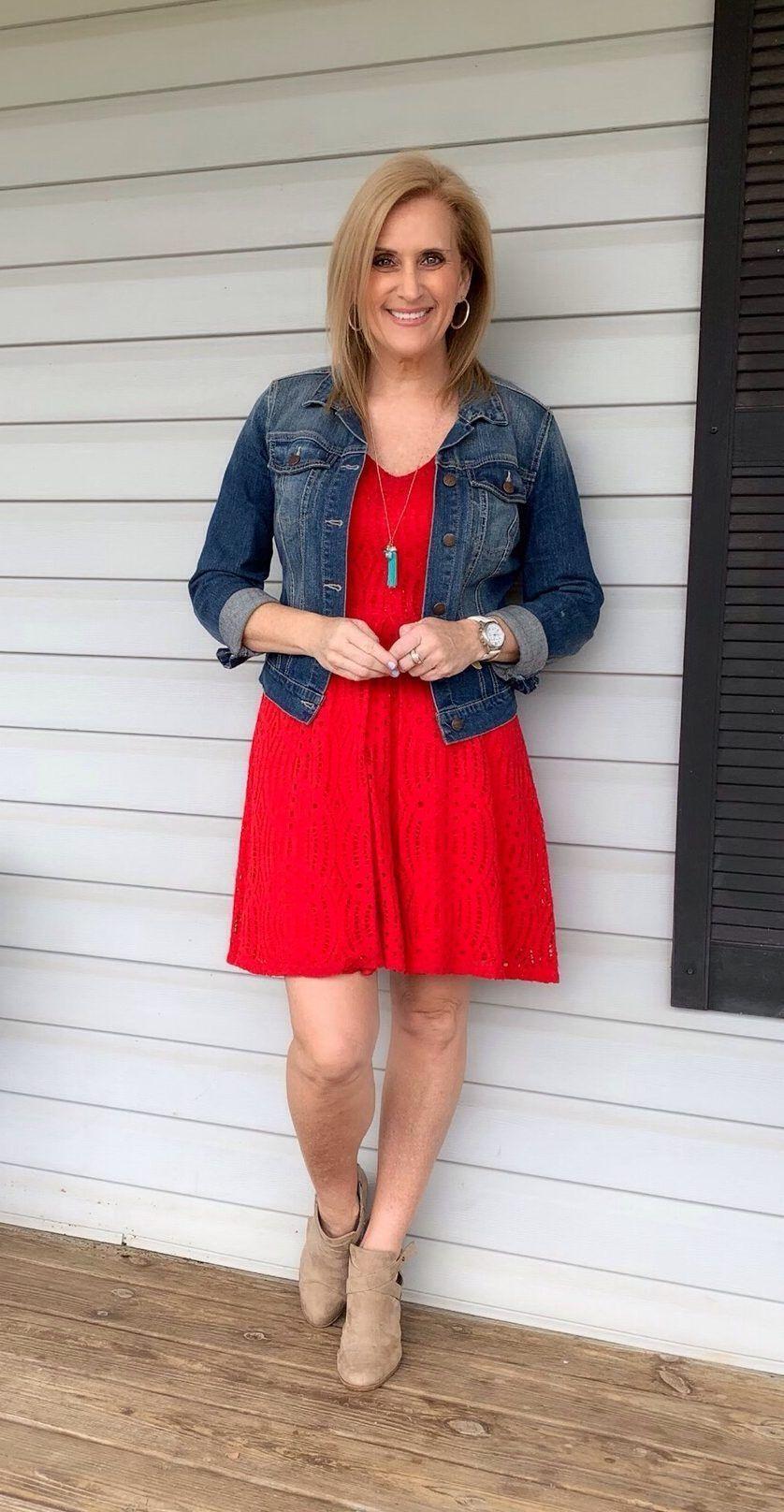 Red Dress & Denim Jacket | Denim jacket with dress ...