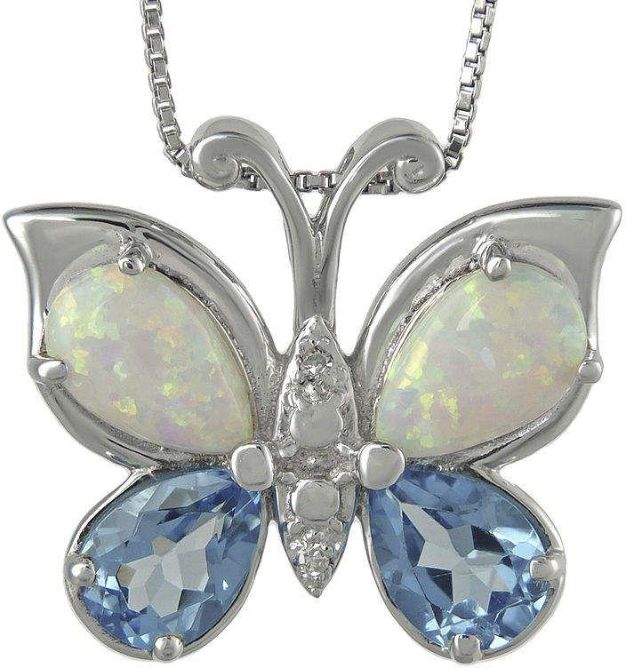 Fine Jewelry Genuine Blue Topaz and Lab-Created Opal Butterfly Earrings EPVhhlKJ
