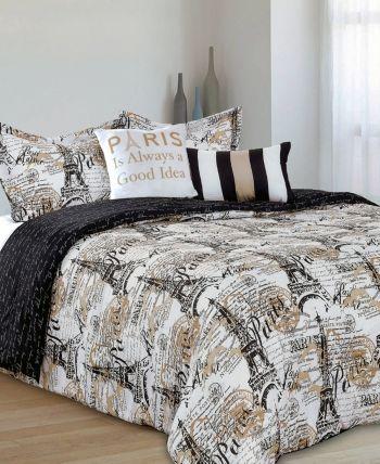 Amelie 5 Piece Comforter Full Queen Set White Black Comforter