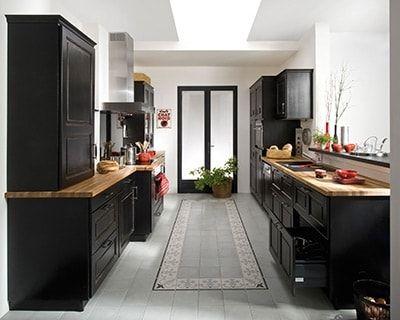 Effet noir esprit bistrot cuisine pinterest plus d for Cuisine noir et bois ikea
