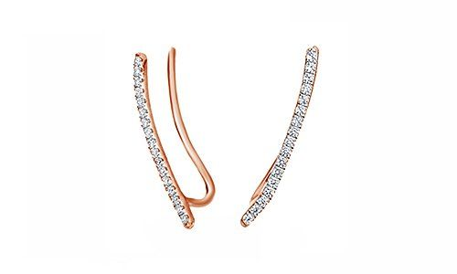 White Natural Diamond Ear Crawlers Earrings In 14K Gold Over Sterling Silver 1//5 Ct