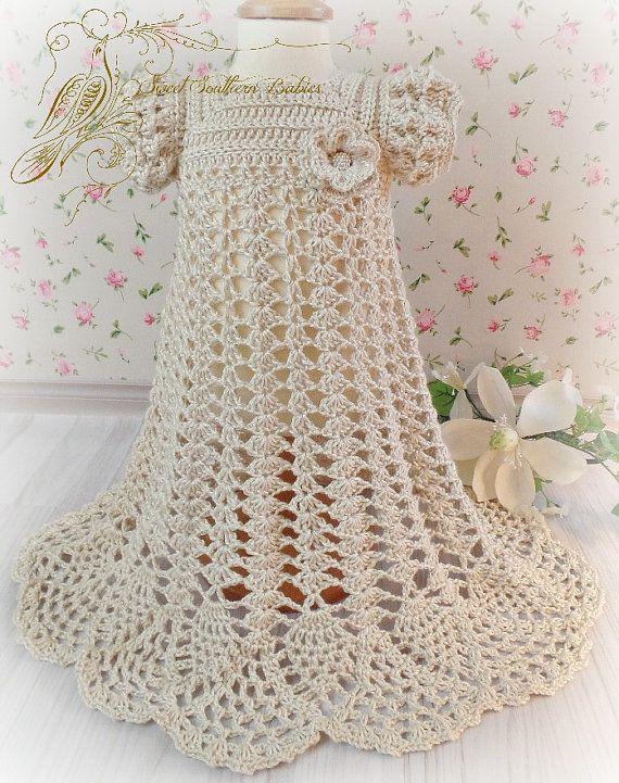 Las muchachas del bebé seda Crochet bautismo bautizo /   Ganchillo ...