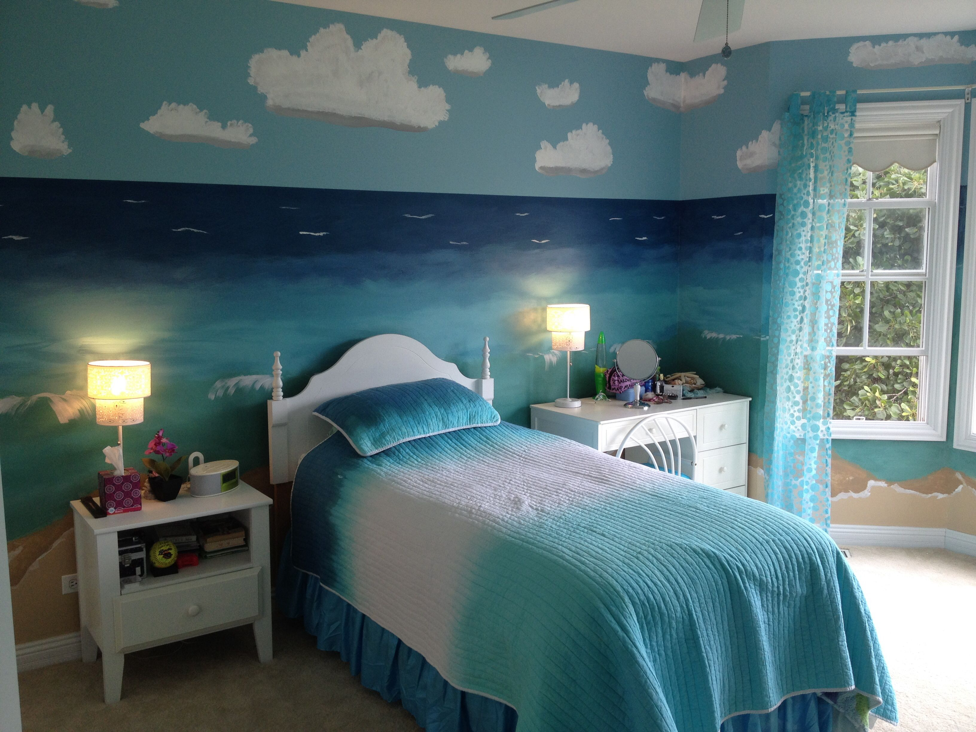 Bedroom Padded Single Bed Plus Blue Bedding Fit Ocean Wall Painting Combine  With Nightstand Light Equipped With Ceiling Fan Mesmerizing Bedroom With  Ocean ...