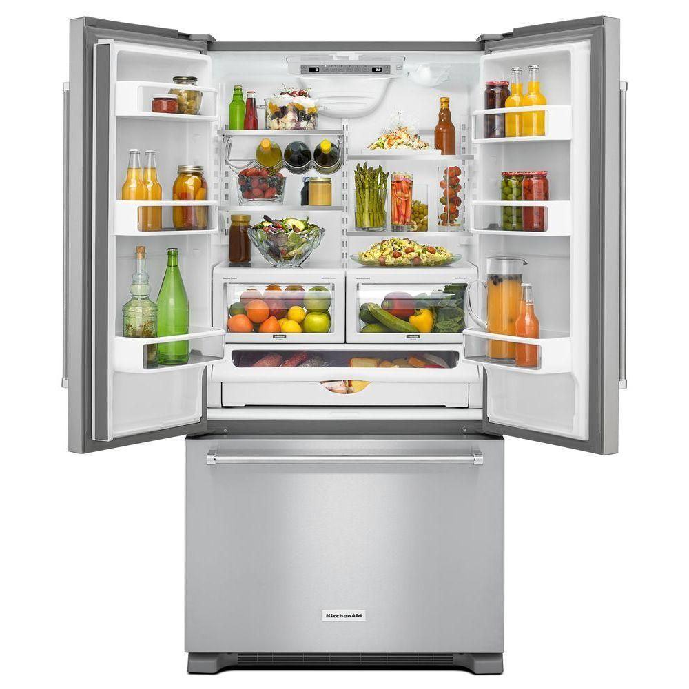 Kitchenaid 21 9 Cu Ft French Door Refrigerator In Stainless Steel Counter Depth Krfc302ess The Home Depot French Door Refrigerator Counter Depth French Door Refrigerator Lg French Door Refrigerator