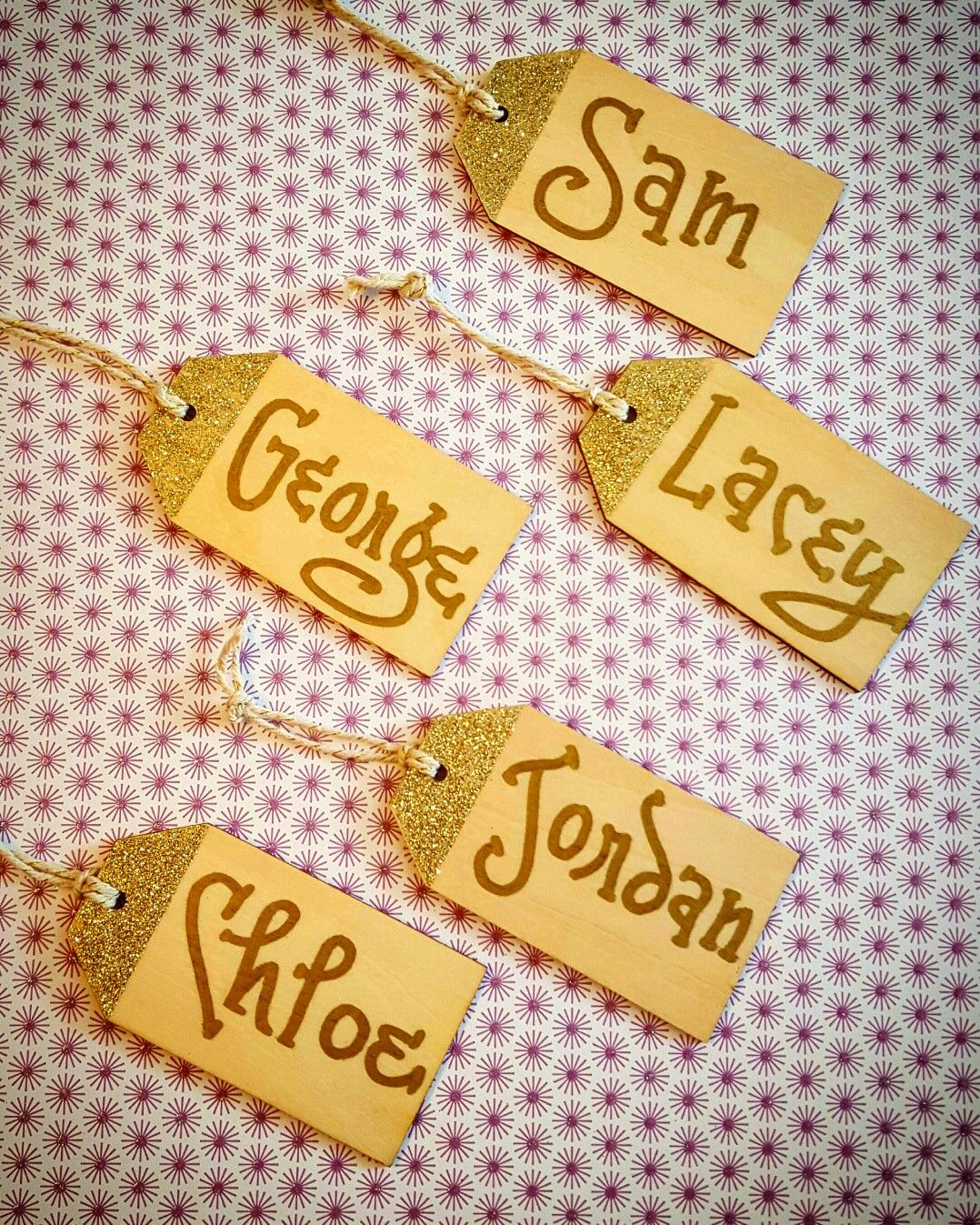 Wooden place card tags, yes please! {Calligraphy by Carrie}