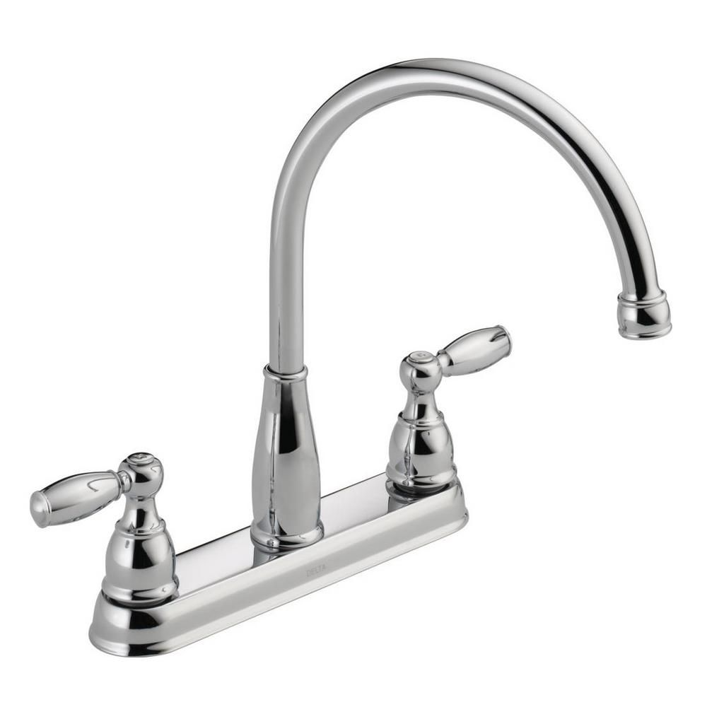 Delta Foundations 2-Handle Standard Kitchen Faucet in Chrome ...