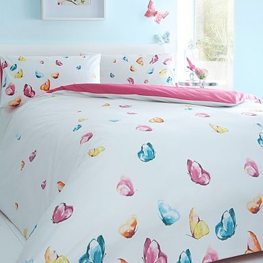 White 'Watercolour Butterfly' bedding set - Duvet covers & pillow cases - Bedding - Home & furniture -