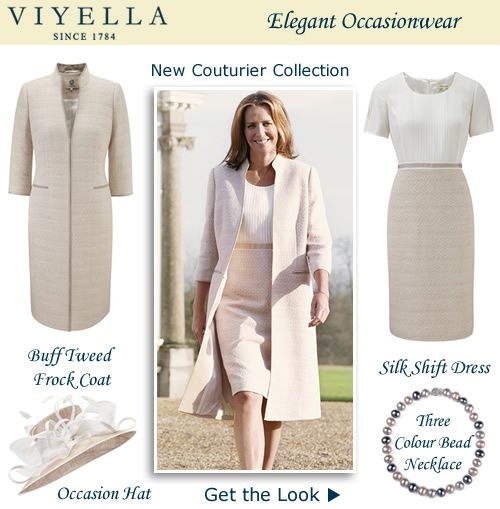 Tweed Pastel Frock Coat Matching Silk Shift Dress For Wedding Occasion Outfits