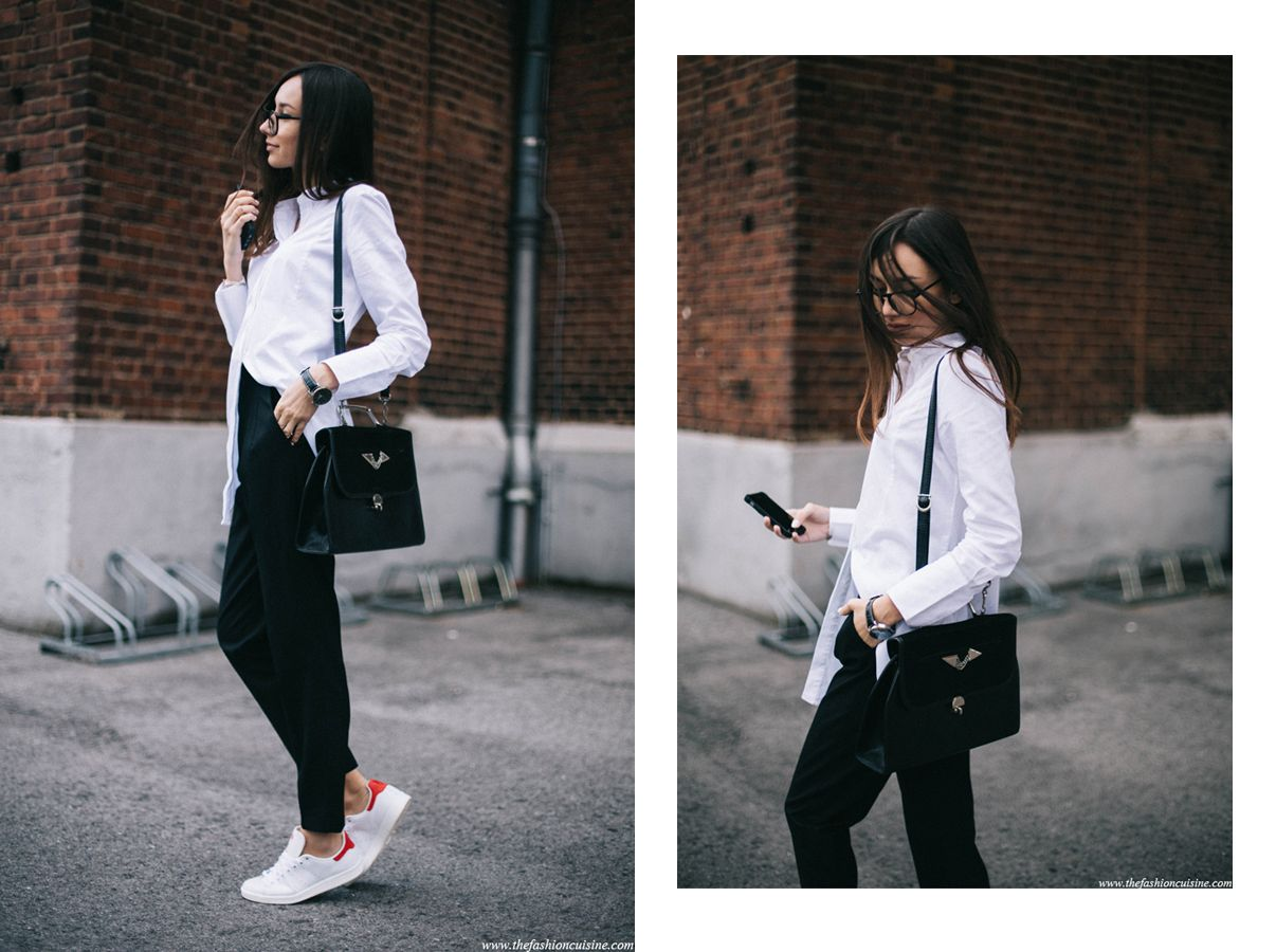 The balance between sporty and classic is heavenly. It's pairing your  favorite white shirt with some masculine high waisted trousers and Adidas  Stan Smith .