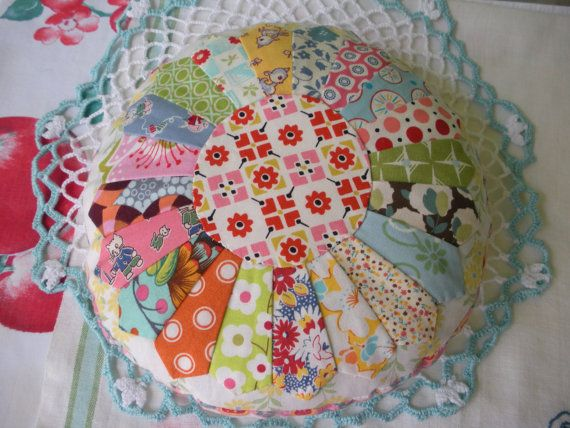 Sweet Scrappy Dresden Plate Pincushion Pillow