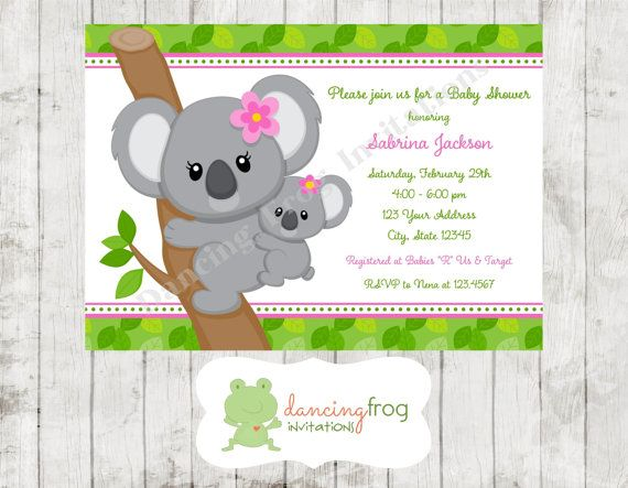 Koala Bear Pink Or Blue Baby Shower Invitations Printed