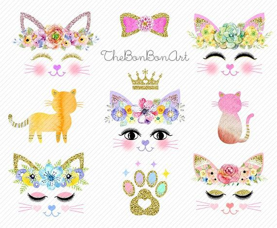 Cats Clipart Cat Party Clipart Cat Watercolor Cat Face Clipart