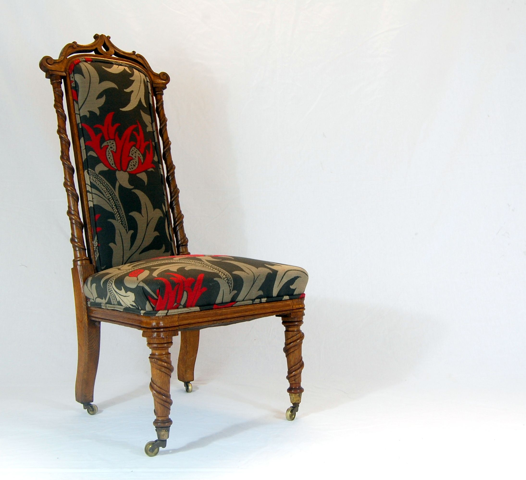Beautiful Victorian Nursing Chair newly finished in William Morris
