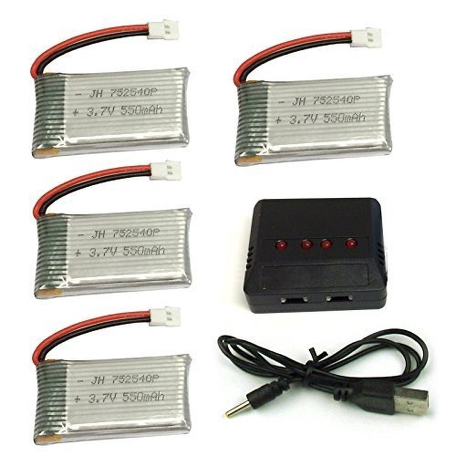 Cheerwing 3.7V 550mAh Lipo Battery (4PCS) with 4 In 1 Battery Charger for Sym...