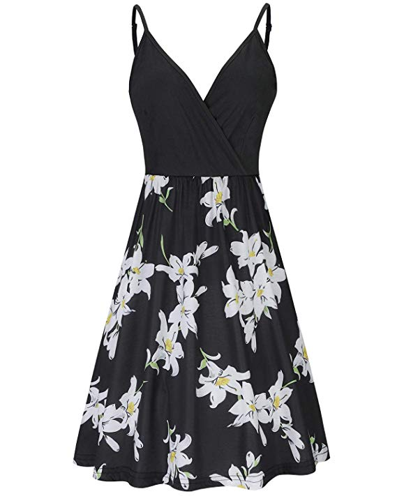 Dress for Women V-Neck Spaghetti Strap Floral Summer Casual Swing Dress with Pockets