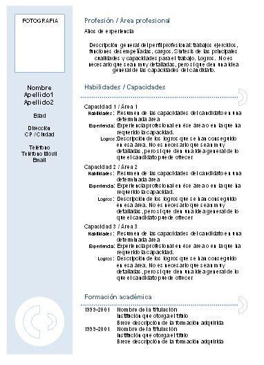 Plantilla Curriculum Basico Sin Experiencia Cv Pinterest