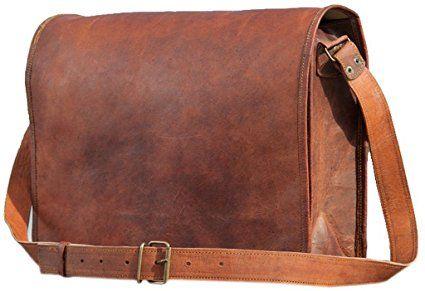 New Real Brown Full Flap Vintage Leather Messenger Shoulder Laptop Bag Satchel