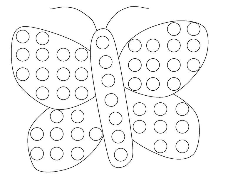 Download Or Print This Amazing Coloring Page Butterfly Do A Dot Coloring Page Funnycrafts Do A Dot Dot Markers Coloring Pages