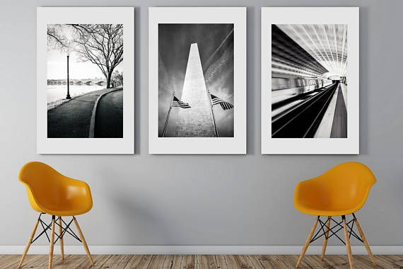 Washington dc art set of 3 black and white photography