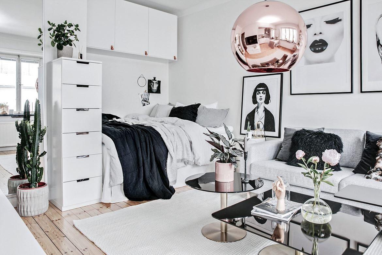 Glamour en 16 m²  Idée déco studio, Deco appartement, Déco maison