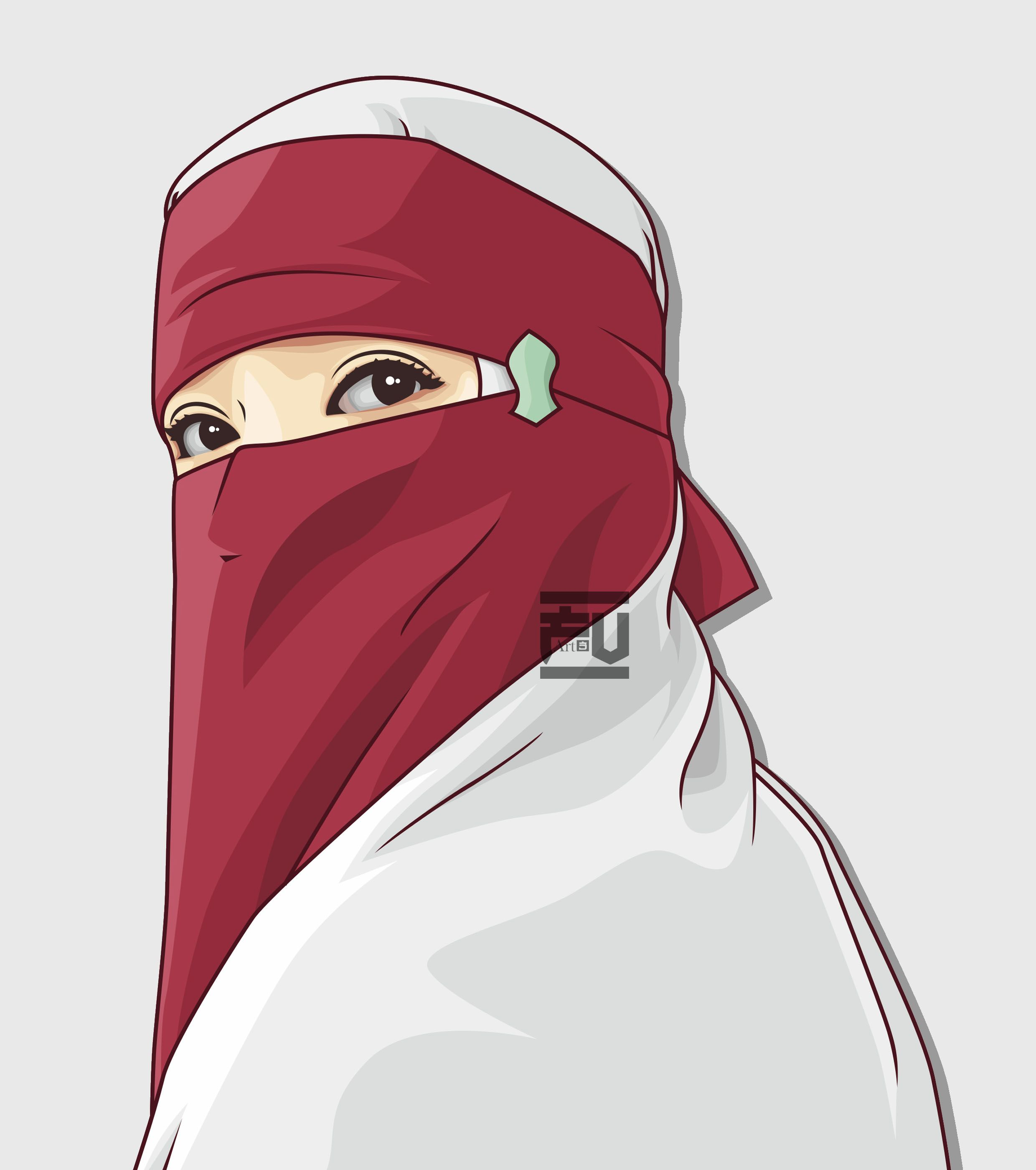 Vector Hijab Niqab Ahmadfu22 Kartun Ilustrasi Karakter Gambar