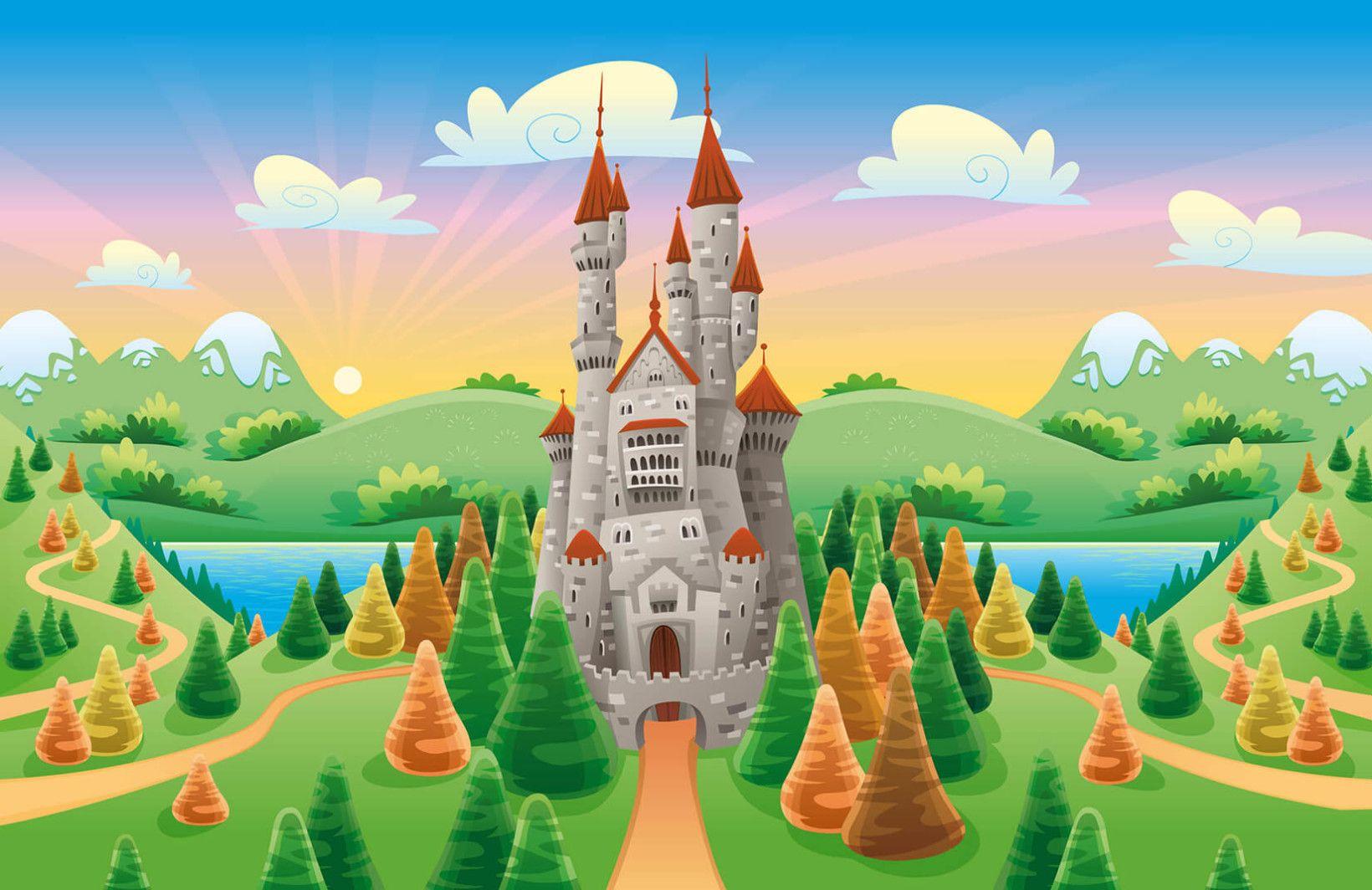 Cartoon Castle Wallpaper Mural Castle Mural World Map