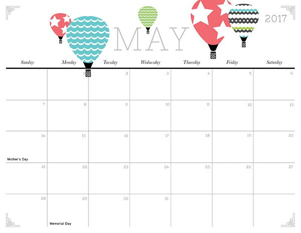 Cute and Crafty 2017 Printable Calendar | Printable calendars ...