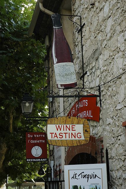 Wine Shop Signs in Gigondas, France by marcosborn, via Flickr