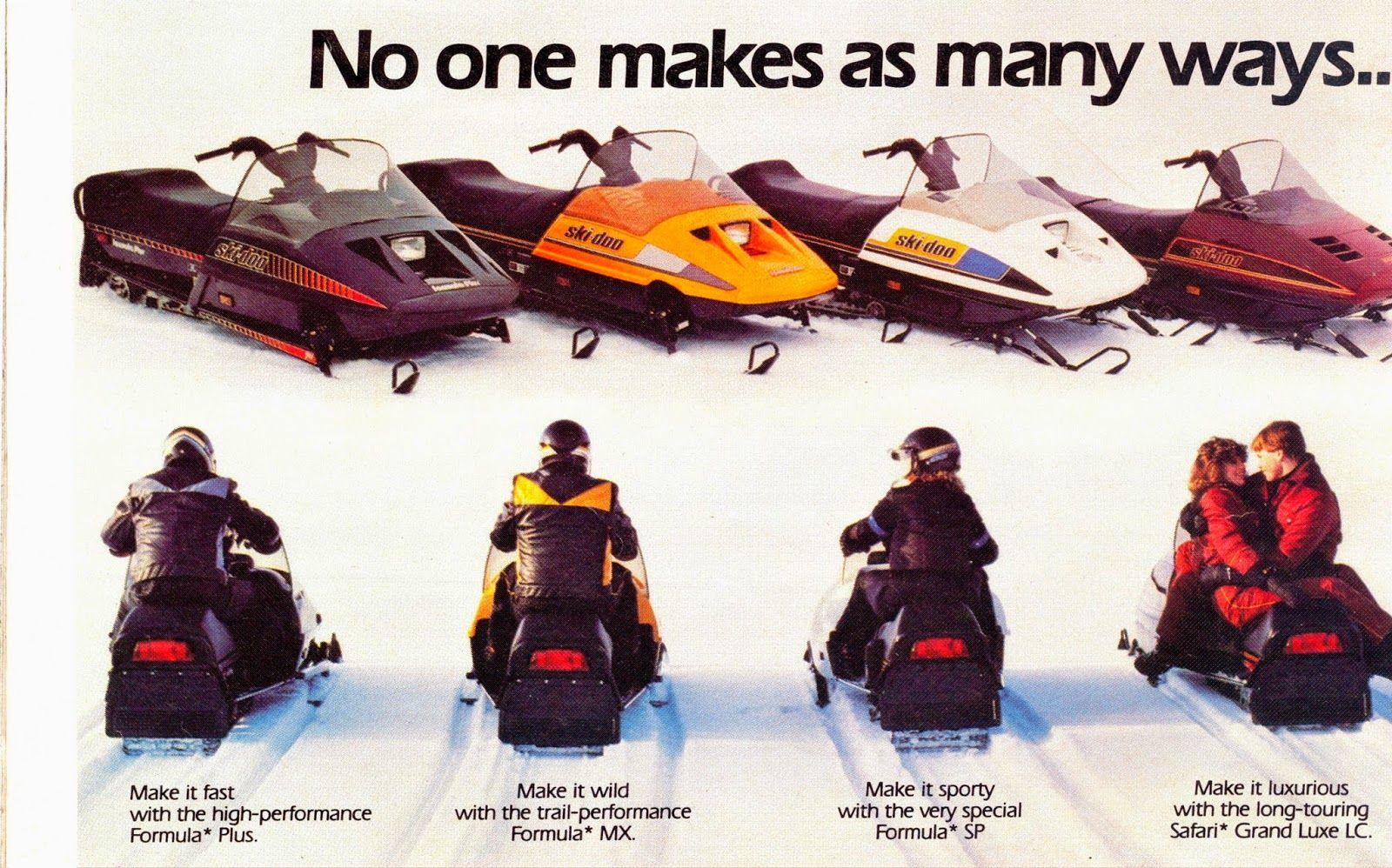 The 1986 Ski Doo Line Up Vintage Sled Snowmobile Skiing