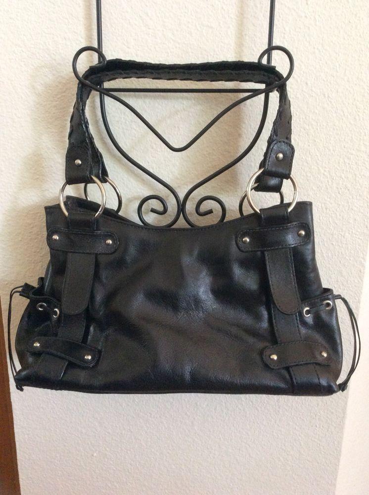 Naturalizer Black Leather Purse Handbag Pocketbook 2 Drawstring Side Pockets