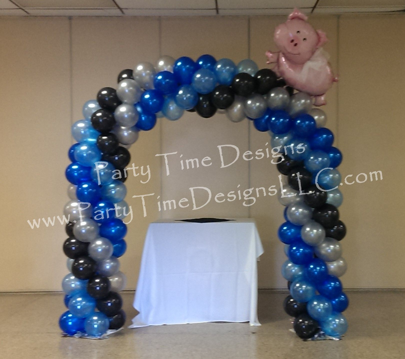 When Pigs Fly Arch Balloon Arch Royal Blue Silver Black Balloon Decor In 2019 Blue Party