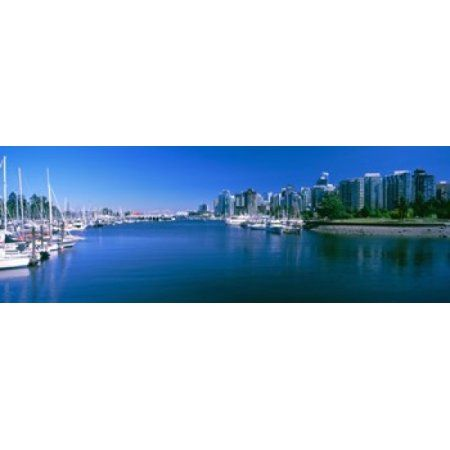 Boats at a marina Vancouver British Columbia Canada Canvas Art - Panoramic Images (36 x 13)