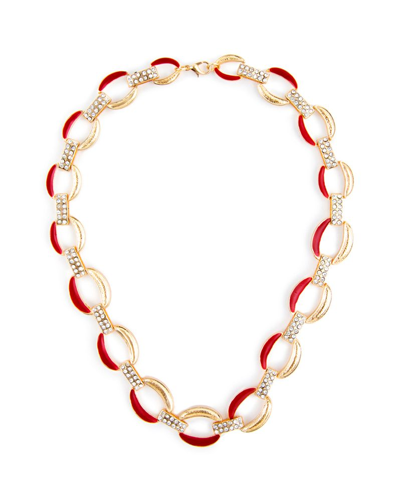 Shore Thing Necklace, red and gold