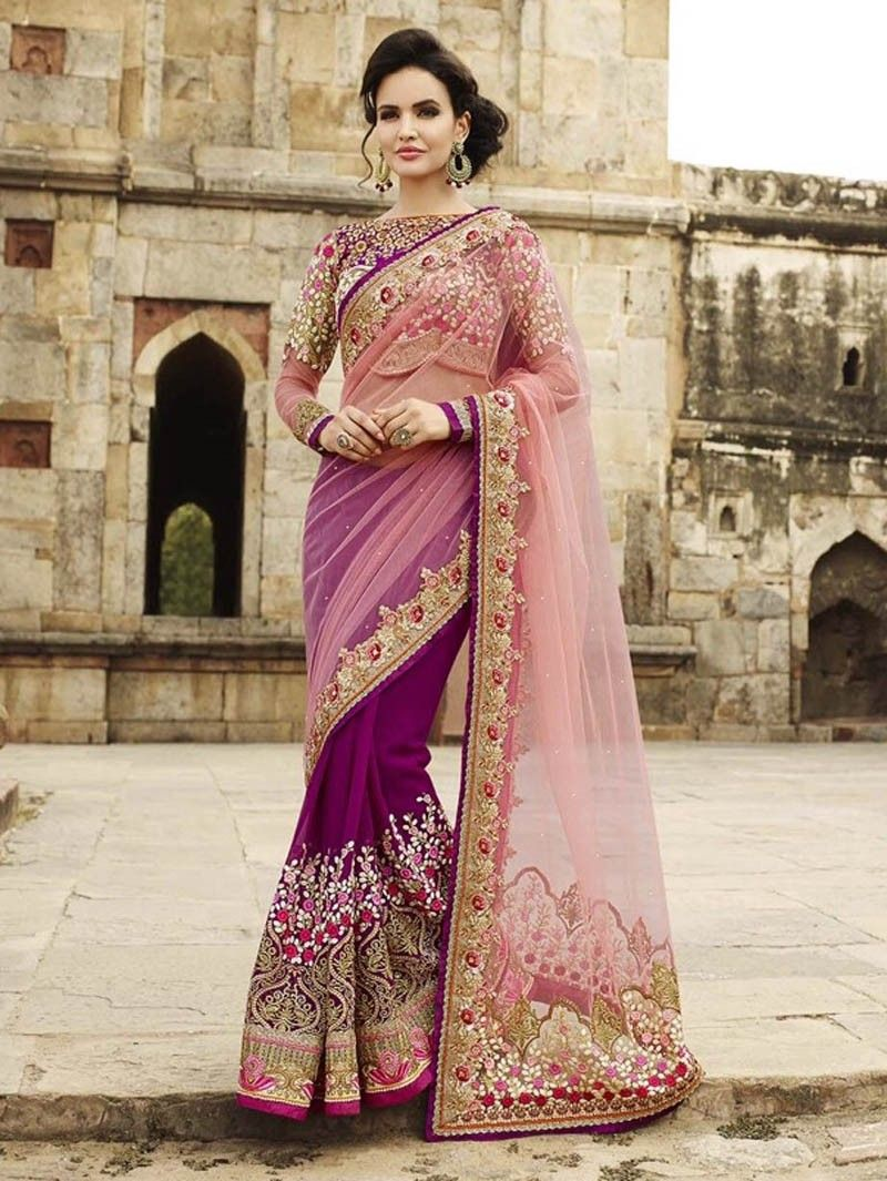 Pink georgete party wear saree with heavy embroidered blouse