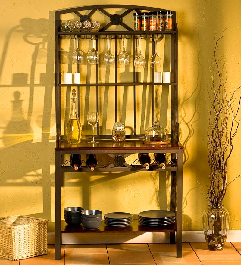 Metal And Wood Baker S Rack With Wine Storage In A