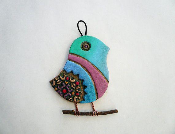 Clay Bird Wall Hanging Handmade Ceramic Bird Wall Decor Beach House Decor Mamam Bird Made In U S A Handmade Ceramics Ceramic Birds Wall Ceramic Birds