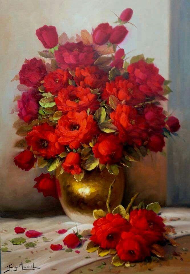 Jorge Maciel | pintura em telas | Pinterest | Blumen, Rot und Bilder