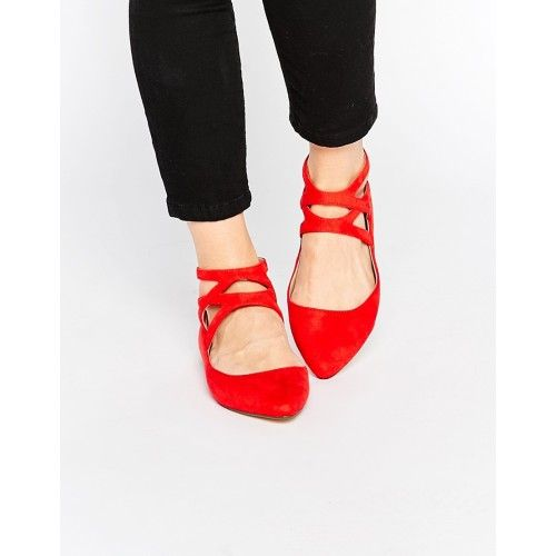 London Rebel Cross Strap Flat Shoes - Red