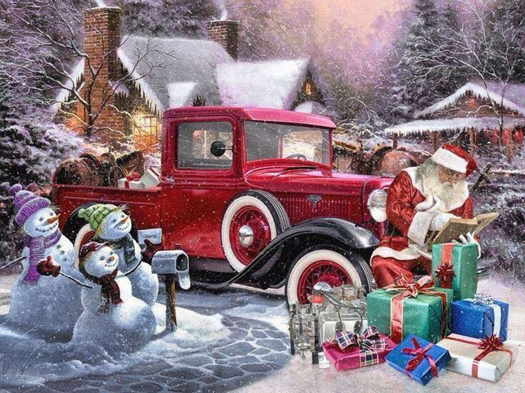 The Old Red Truck Christmas Scene