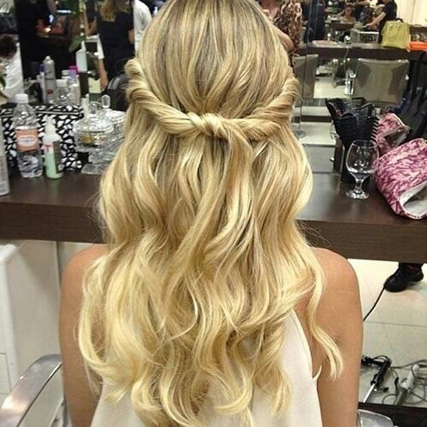 Soft Romantic Curls In A Half Up Style: 31 Half Up, Half Down Prom Hairstyles