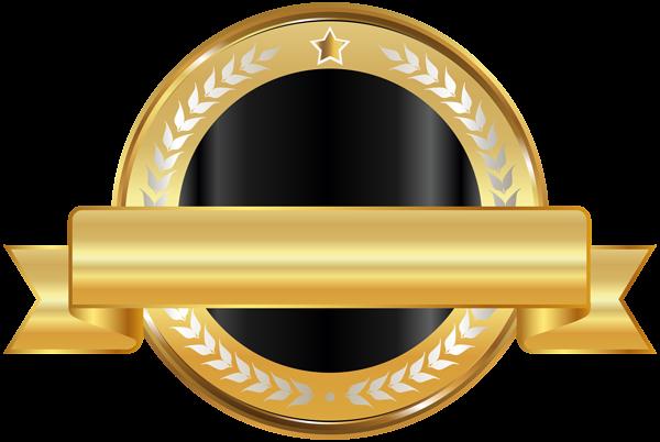 Seal Badge Gold Black PNG Clip Art